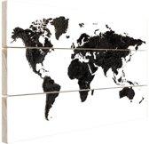 Wereldkaart zwart Hout 80x60 cm - Foto print op Hout (Wanddecoratie)