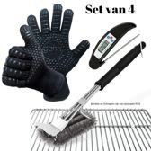 1 BBQ Borstel met Schraper en Bewaarzak, 2 BBQ Handschoenen  (gemaakt van Aramide en Kevlar) en 1 Voedselthermometer