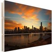 Brisbane tijdens een kleurrijke zonsondergang Vurenhout met planken 90x60 cm - Foto print op Hout (Wanddecoratie)