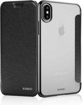 Xundd - iPhone X / Xs  Zwart  slim Crystal Folio Flip hoesje / book case
