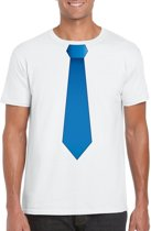 Wit t-shirt met blauwe stropdas heren M
