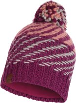 Buff Knitted & Polar Dames Muts - Raspberry - One Size