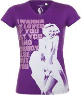 Marilyn Monroe shirt / t-shirt I Wanna Be Loved By You paars maat M