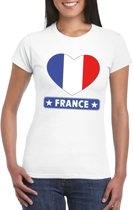 Frankrijk hart vlag t-shirt wit dames L