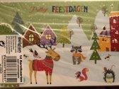 Kerstkaarten 14 stuks 15 x 10,5 cm dieren kerstbomen en huisjes kerst kaarten