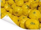 Een hoop gele patissons Tuinposter 80x60 cm - Tuindoek / Buitencanvas / Schilderijen voor buiten (tuin decoratie)