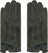 Zachte dames handschoenen Elements Olijfgroen Strik warme handschoenen