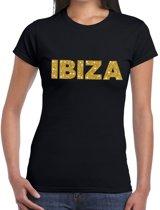 Ibiza gouden glitter tekst t-shirt zwart dames M