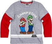 Super Mario Bros T-shirt-met-lange-mouw-grijs - Maat 134