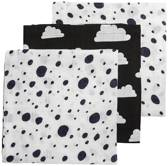 Meyco Dots-Clouds-Dots 3-pack hydrofiele luiers - 70 x 70 cm - Blauw/wit/zwart