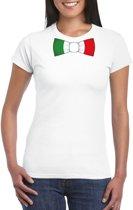 Wit t-shirt met Italie vlag strikje dames 2XL