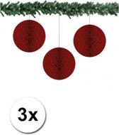 3x decoratie bal bordeaux 10 cm - papieren kerstbal