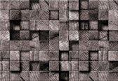 Fotobehang Wood Blocks Texture Black White   XXL - 206cm x 275cm   130g/m2 Vlies