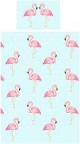 1 persoons kinderdekbedovertrek flamingo in pastelkleuren