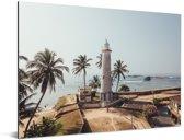 De Aziatische vuurtoren bij Fort Galle in Sri Lanka Aluminium 40x30 cm - klein - Foto print op Aluminium (metaal wanddecoratie)