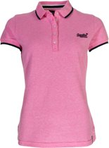Superdry Pacific Stripe Sportpolo casual - Maat S  - Vrouwen - roze/blauw