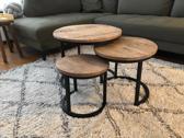 Brix Carmen - ronde salontafel set van 3 - Mangohout - Metaal - industriëel- 33 / 43 / 54cm