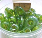 Glaskralen / kralen met groot gat groen ca. 1000 gram