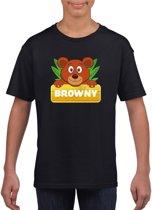 Browny de beer t-shirt zwart voor kinderen - unisex - beren shirt L (146-152)