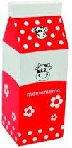 Mama Memo Pak Melk Hout 5 X 12 X 5 Cm Rood
