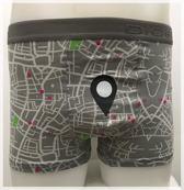 DICE Underwear Heren Boxer all over print Maps, Grijs maat M