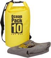 relaxdays Oceaan Pack 10 Liter - Dry Bag - outdoor droogtas - waterdichte tas tegen regen geel