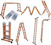 Multifunctioneel ladder 4 x 3 sporten 368cm  inlc.platform oranje