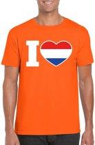 Oranje I love Holland supporter shirt heren - Oranje Koningsdag/ Holland supporter kleding XL