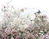 Schilderij - Aquarel bloemenveld - Print op canvas
