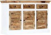 Dressoir Wit Bruin Hout Ladekast (Incl LW 3d klok) - wandkast - Tv kast- opbergkast - Boekenkast - opbergkast - Kast met lades - Sidetable - Wandtafel