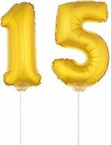 Gouden opblaas cijfer 15 op stokjes - verjaardag versiering / jaar