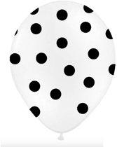 Ballonnen wit dots Zwart 50 stuks