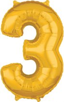 26 Number 3 Gold 26 Inch Foil Balloon P31 packed 43 x 66cm