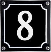 Zwart emaille huisnummer  - 8