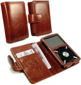 Vintage genuine leather wallet case cover for FiiO X5 - Bruin