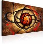 Schilderij - Boze oog , oranje bruin , 1 luik