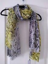 Sjaal met slangenprint in de kleuren geel en zwart