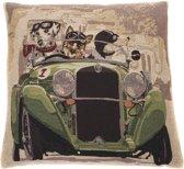 In The Mood Napoleon Hond in auto - Sierkussen - 45x45 cm - Groen/Multi