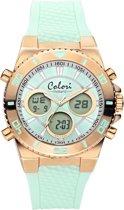 Colori Holland 5 CLD126 Digitaal Horloge - Siliconen Band - Ø 43 mm - Mint Groen