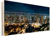 Nachtfoto van Manila Vurenhout met planken 80x40 cm - Foto print op Hout (Wanddecoratie)