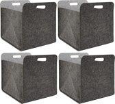 Set van 4 vilten opbergboxen 33x33x38 cm Kallax vilten korflegbox grijs