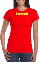 Rood t-shirt met Spanje vlag strikje dames L