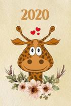 2020: girafe - Agenda - Planificateur Hebdomadaire et Mensuel - Agenda semainier 2020 - Calendrier des semaines 2020 - 20 pa