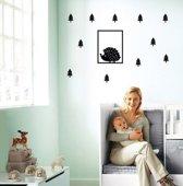 Muursticker lijst egeltje dennebomen figuurtjes | babykamer - kinderkamer | hip - modern