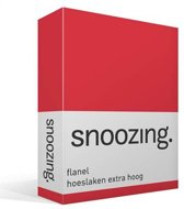 Snoozing - Flanel - Hoeslaken - Extra Hoog - Eenpersoons - 90/100x220 cm - Rood