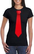 Zwart t-shirt met rode stropdas dames 2XL