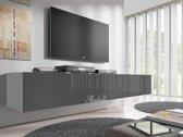 Meubella - TV-Meubel Flame - Grijs - Wit - 200 cm (2x 100)