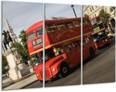 Canvas schilderij Engeland | Zwart, Wit, Rood | 120x80cm 3Luik