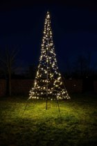 Fairybell vlaggenmast kerstboom 400 lampjes warm wit LED H420 cm incl. mast