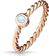 Opal - Rosé Goud Kleurige Ring met Rond Steentje voor Dames